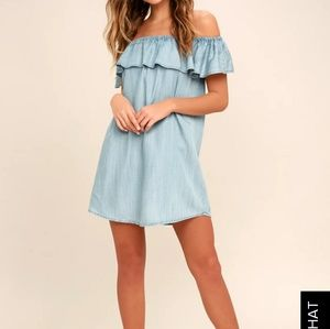 Lulus Chambray Off the Shoulder Dress L